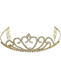 Pink Rose - Complement Collection Gold Alloy Stone Royal Charm Hair Crown Tiara For Women (Head Gear)