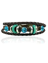 "ALPHA MAN ""With A Touch Of Style Blue, ""Brown Thread-Woven Faux Leather Bracelet"
