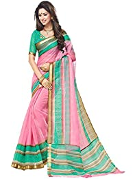 Miraan Printed Chanderi Saree With Zari Border Blouse Piece For Women | Party Wear
