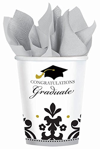 Black & White Grad Graduation 9 oz. Paper Cups (18)