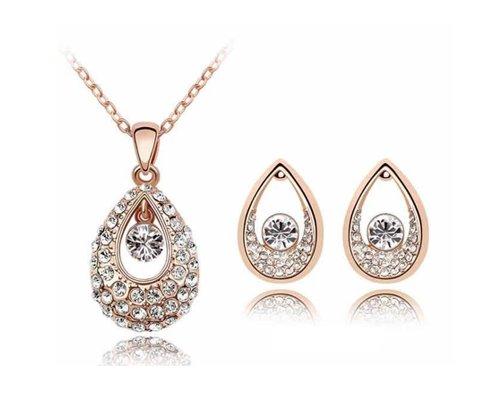 KATGI Fashion Austrian Crystal Angel Teardrop Pendant Necklace & Earrings (Set of 2)