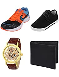 Earton COMBO Pack Of 4 Multicolor (Sports Shoe,Casual Shoes,Watch & Wallet)