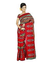 MINA Red Colored Bhagalpuri Silk Saree With Blouse Piece