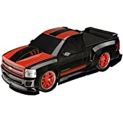 Rc Car Chevy Silverado Electric Remote Control Car 1/18 Scale Model Truck Black And Red With Racing Stripes