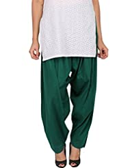Womens Cottage Forest Green Pure Cotton Semi Patiala Bottoms