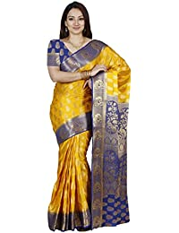 Mimosa Women's Traditional Art Silk Saree Kanjivaram Style With Blouse Color:Gold(3299-224-GLD-RBLUE )