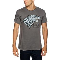 Trademark Game Of Thrones Logo Stark Direwolf - Camiseta, con manga corta para hombre, color negro carbón, talla 2XL