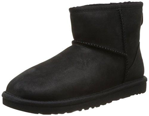 UGG Classic Mini Leather - Botas para mujer, color negro, talla 38