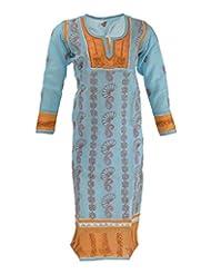 Lucknow Chikan Industry Women's Cotton Regular Fit Kurti (Lci-311, Blue & Mustard, L)