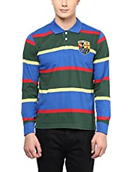 American Crew Men's Premium Jersey Long Sleeve Stripes Polo T-Shirt (Green, Blue, Red & Yellow)