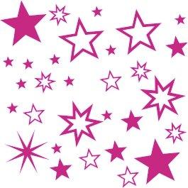 30 Stück Pinke Sterne Aufkleber, Mix-Set