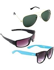 Elligator Stylish Aviator Gold Green And Purple Nightvision With Blue Wayfarer Sunglasses Combo ( Set Of 3 )