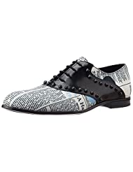 Galliano Men's White And Black Leather Sneakers - B012FB5Q8C