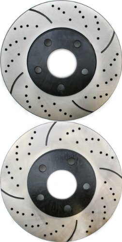 Prime Choice Auto Parts PR65036LR Performance Drilled and Slotted Brake Rotor Pair for Front