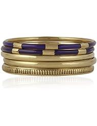 Trendy Baubles Set Of 5: Purple & Gold Bangles