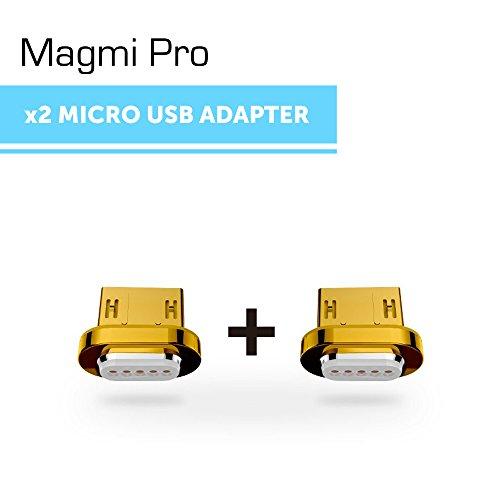 DigitalOME® Magmi Pro Pack de dos pines con imán magnético para cable Micro Usb 2.0 cargador para Samsung, Sony, Xiaomi, LG, HTC... - (2xPin MicroUSB) width=
