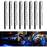 Alcoa Prime 8Pcs 12V 15 LED 30cm Car Motor Vehicle Flexible Waterproof Strip Light Blue