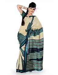 Designersareez Women Bhagalpuri Silk Printed Cream / Teal Saree With Unstitched Blouse(833)
