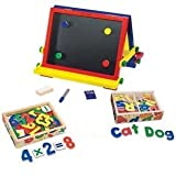 Melissa & Doug Table-Top Easel With Magnetic Wooden Letters & Numbers Bundle