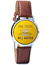 BigOwl Think Positive And Positive Things Will Happen Analog Men's Wrist Watch 2004498626-RS1-W-BRW
