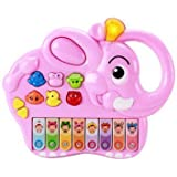 Zewik 2 In 1 Colorful Electronic Piano Baby Musical Instrument Toy,Hand Press Animal Music Toys (Pink Elephant)