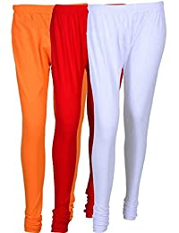 Cotton Leggings (Culture The Dignity Women's Cotton Leggings Combo Of 3_CTDCL_ORW_ORANGE-RED-WHITE_FREESIZE)