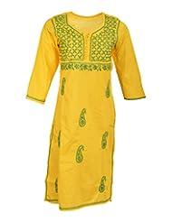 Naurati Exports Women's Cotton Straight Kurta (nau#17, Yellow, X-Large)