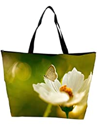 Snoogg White Butterfly In White Flower Designer Waterproof Bag Made Of High Strength Nylon