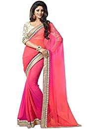 Sarees (Women's Clothing Saree For Women Latest Design Wear Sarees New Collection In Orange Coloured Georgette...