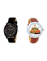 Gledati Men's Black Dial & Foster's Women's White Dial Analog Watch Combo_ADCOMB0002079