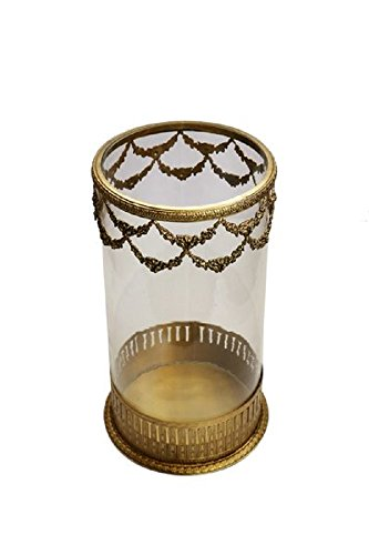 The Rose Lane Brass & Glass Hurricane Candle Holder - (25.5 X 13.5 Cms , Brass)
