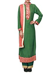 Green Straight Suit Enhanced In Mirror And Resham Embroidery