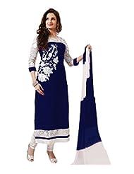 Paheli Womens Georgette Straight Salwar Suit (Phl0715Mbnb_Navy Blue)