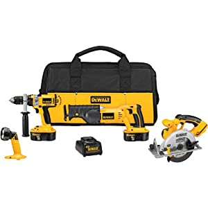 DEWALT DCK440X 18-Volt XRP 4-Tool Combo Kit, with Hammerdrill, Reciprocating and Circular Saws, and Light