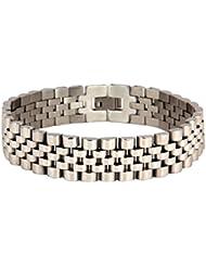 The Jewelbox 316L Surgical Stainless Steel Rhodium Watch Belt Style Men Bracelet