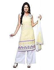 Lemon Cotton Straight Salwar Kameez For Ladies - B00TJVHFWC