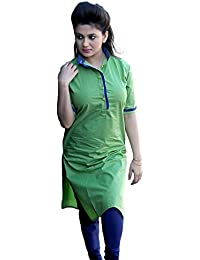 Arawins Women's Clothing Designer Party Wear Low Price Sale Offer Green Cotton Free Size Unstitched Kurti