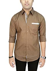 AA' Southbay Men's Brown Polka Printed 100% Premium Cotton Long Sleeve Party Casual Shirt