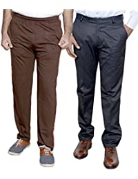Indistar Mens Formal Trousers With Men's Premium Cotton Lower (Length Size -38) With 1 Zipper Pocket And 1 Open Pocket (Pack Of -1 Lower With 1 Trouser) - B01GEINCTM