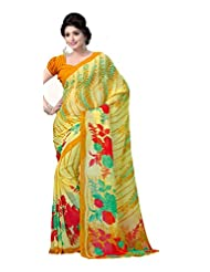 ANSS Elegant Designer Faux Georgette Saree With Floral Print - Yellow