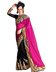 AG Lifestyle Pink & Black Georgette & Chiffon Saree With Unstitched Blouse ASL808