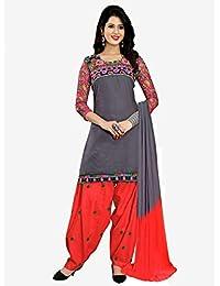 Desi Look Women's Grey Cotton Patiyala Dress Material With Dupatta