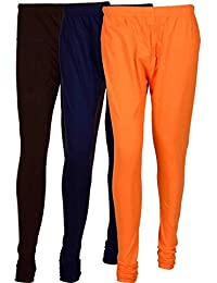 Cotton Leggings (Culture The Dignity Women's Cotton Leggings Combo Of 3_CTDCL_B2NvO_BROWN-NAVYBLUE-ORANGE_FREESIZE)