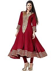 Mannat Fashion Designer Red Cotton Printed Anarkali Kurti