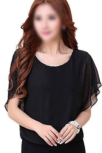 SODIAL(R)女性の黒いファッション半袖シャツ スリムドルマンスリーブルーズなシフォンシャツ 秋 XLサイズ
