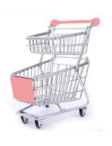Mini Supermarket Shopping Cart Decoration, Storage Box, Cellphone Holder, Creative Novelty Gift Double Deck Pink
