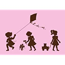Silhouette Girls Paint by Number Wall Mural