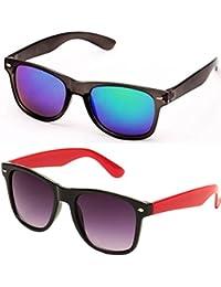 SHEOMY SUNGLASSES COMBO - BLUE MERCURY WAYFARER SUNGLASSES AND BLACK RED WAYFARER SUNGLASSES WITH 2 BOXES - Free...