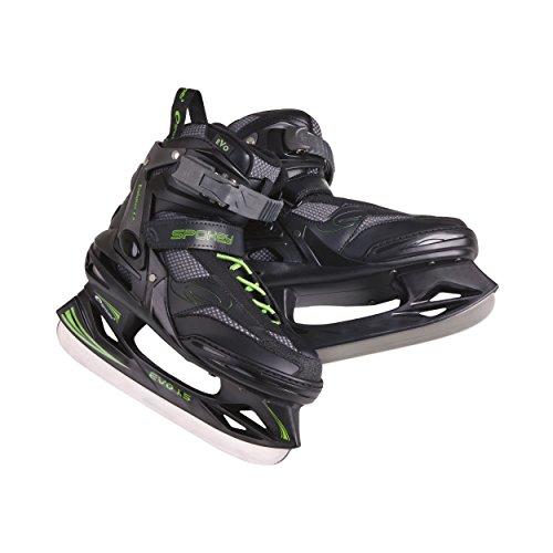 SPOKEY® EVO 1.5 Schlittschuhe | Damen | Herren | Kinder | Eishockeyschlittschuhe | 37-46 | Eishockeykufen | Edelstahl | Verstärkte Kappe | Herausnehmbarer Innenschuh
