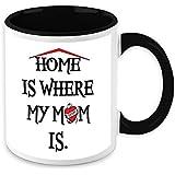 HomeSoGood Home Is Where My Mom Black & White Ceramic Coffee Mug - 325 Ml